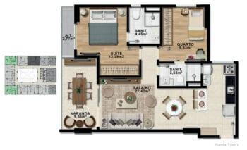 Planta baixa de 2 quartos com suíte e varanda com 69,68 m² de área privativa