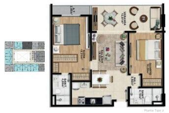 Planta baixa de 2 quartos com suíte e varanda com 70,05 m² de área privativa