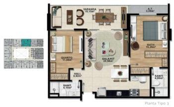 Planta baixa de 2 quartos com suíte e varanda com 81,14 m² de área privativa