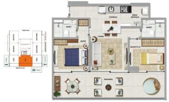 Planta baixa do BALI - 2 quartos sendo 1 suíte, com varanda em 69,94 m² de área privativa.