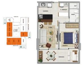 Planta baixa do CAPRI - Quarto e sala com varanda em 44,31 m² de área privativa.
