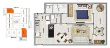 Planta baixa do HAWAII - Uma suíte com lavabo e varanda em 50,38 m² de área privativa.