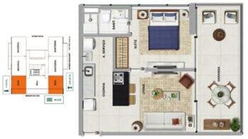 Planta baixa do IBIZA - Quarto e sala com 34,24 m² de área privativa.