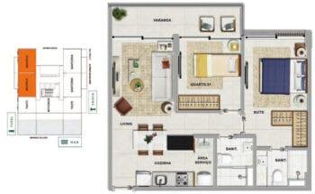 Planta baixa do MAIORCA - 2 quartos sendo 1 suíte, com varanda em 58,42 m² de área privativa.
