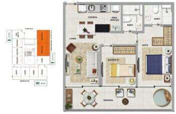 Planta baixa do MALDIVAS - 2 quartos sendo 1 suíte em 66,34 m² de área privativa.