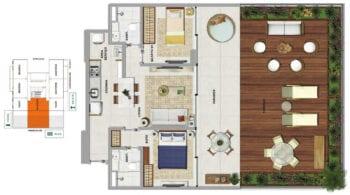 Planta baixa do MYKONOS - 2 quartos sendo 1 suíte, com varanda e terraço em 118,32 m² de área privativa.