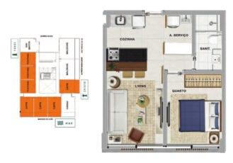 Planta baixa do POSITANO - Quarto e sala com 34,24 m² de área privativa.