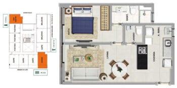 Planta baixa do SAINT MARTIN - Uma suíte com lavabo em 40,54 m² de área privativa.
