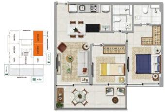 Planta baixa do SANTORINI - 2 quartos sendo 1 suíte em 61,47 m² de área privativa.