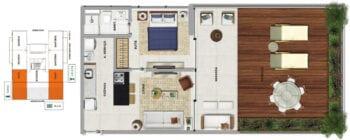 Planta baixa do TAHITI - Quarto e sala com varanda e terraço em 82,55 m² de área privativa.