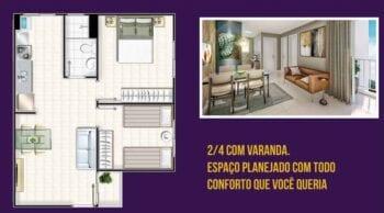 Planta baixa e perspectiva do Apartamento de 2 dois quartos com Varanda