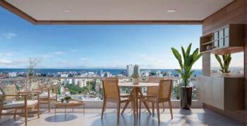 Perspectiva da varanda do apartamento 101 a 1401 do Duetto Horto