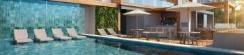 Perspectiva da piscina do House Federação.