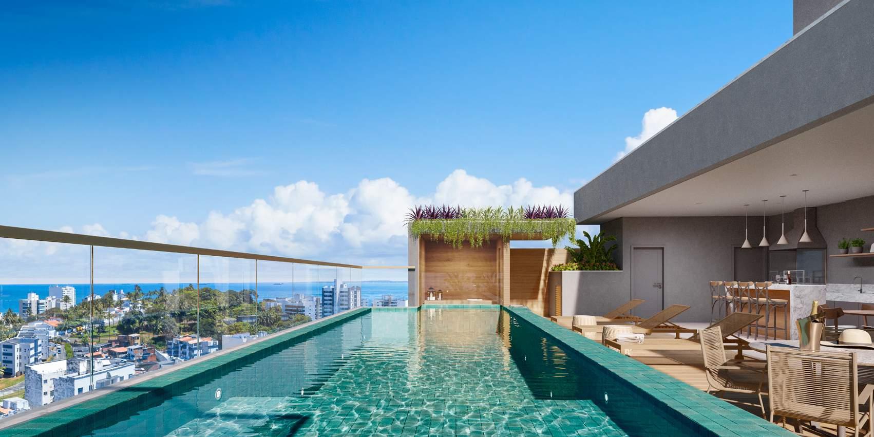 Perspectiva da piscina no Rooftop do Barra Conceito.