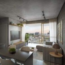 Perspectiva do apartamento tipo 2 suítes.