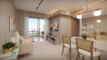 Perspectiva do living do apartamento 2 quartos