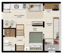 Planta Quarto e Sala com varanda 29,70m² - (Coluna 06 Torre Exclusive)
