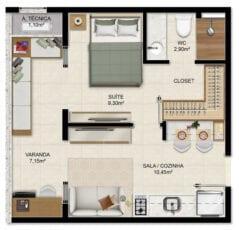 Planta Quarto e Sala com varanda 30,90m² - (Colunas 02, 03 Torre Exclusive)