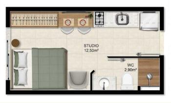 Planta Studio – 15,40m² (Colunas 02, 03, 07, 08, 09, 10 Torre Unique)