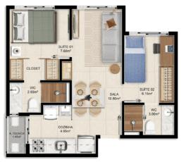 Planta baixa 2 quartos – 36,90m² (Colunas 01, 04, 05, 07 Torre Exclusive) do House Federação
