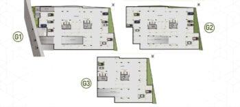 Planta baixa do Pavimentos Garagens - G1, G2, G3 do House Federação