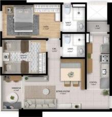 Planta baixa do apartamento 2 Quartos do Residencial Orquidário
