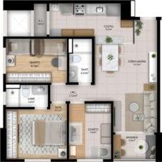 Planta baixa do apartamento 3 Quartos do Residencial Orquidário