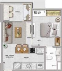 Planta baixa do apartamento quarto e sala.