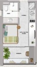 Planta baixa do apartamento tipo studio do Barra Conceito