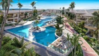Perspectiva da piscina resort.
