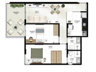 Planta baixa do apartamento 2 quartos tipo 1.