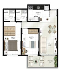 Planta baixa do apartamento 2 quartos tipo 2.