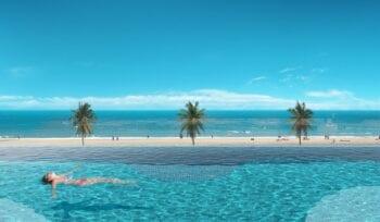 Perspectiva da piscina com borda infinita do Dumare.