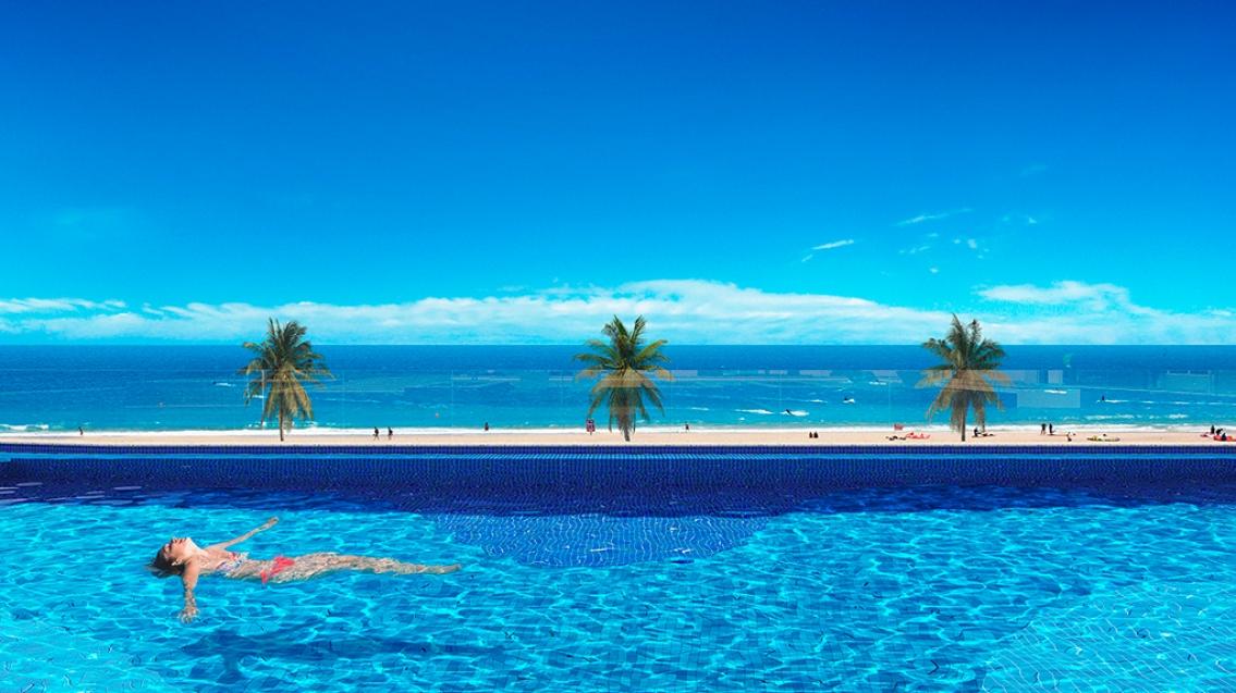 Perspectiva da piscina do Dumare Jaguaribe.