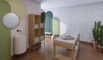 Perspectiva da sala de massagem do Dumare.