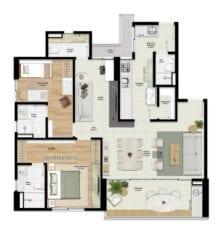 Planta baixa - Acqua - 103 m2 - 2 suítes - Living ampliado