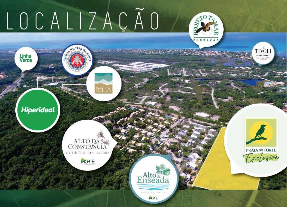 Foto aérea da localização do Praia do Forte Exclusive.