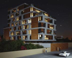 Perspectiva da fachada do House Barra de noite para a Avenida Oceânica.