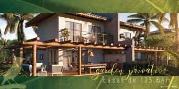 Perspectiva do Garden privativo das casas com 135,64m2 do Praia do Forte Exclusive.