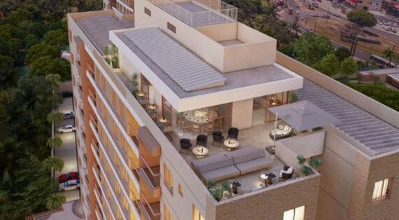 Perspectiva do Rooftop com espaço Gourmet do Terraço Cabula