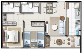 Apartamento Tipo A - 2 quartos com suíte e varanda em 51 m² de área privativa.
