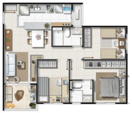 Apartamento Tipo B - 3 quartos com suíte e varanda em 66 m² de área privativa.
