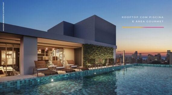 Perspectiva do ROOFTOP com piscina e área gourmet.