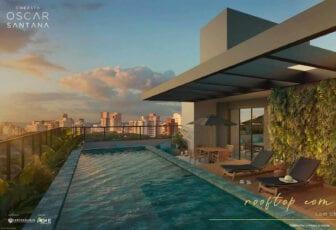 Perspectiva do Rooftop com piscina.