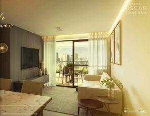 Perspectiva do apartamento de 2 quartos do Residencial Oscar Santana