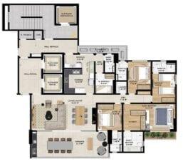Planta baixa do Apartamento Opção 01 de 4 Suítes do Horto Essence