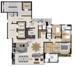 Planta baixa do Apartamento Opção 02 de 4 Suítes do Horto Essence