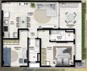 Planta baixa do apartamento 2 quartos.