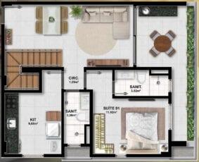 Planta baixa do apartamento 3 quartos.