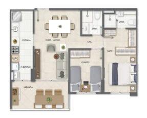 Planta baixa do apartamento Tipo B.